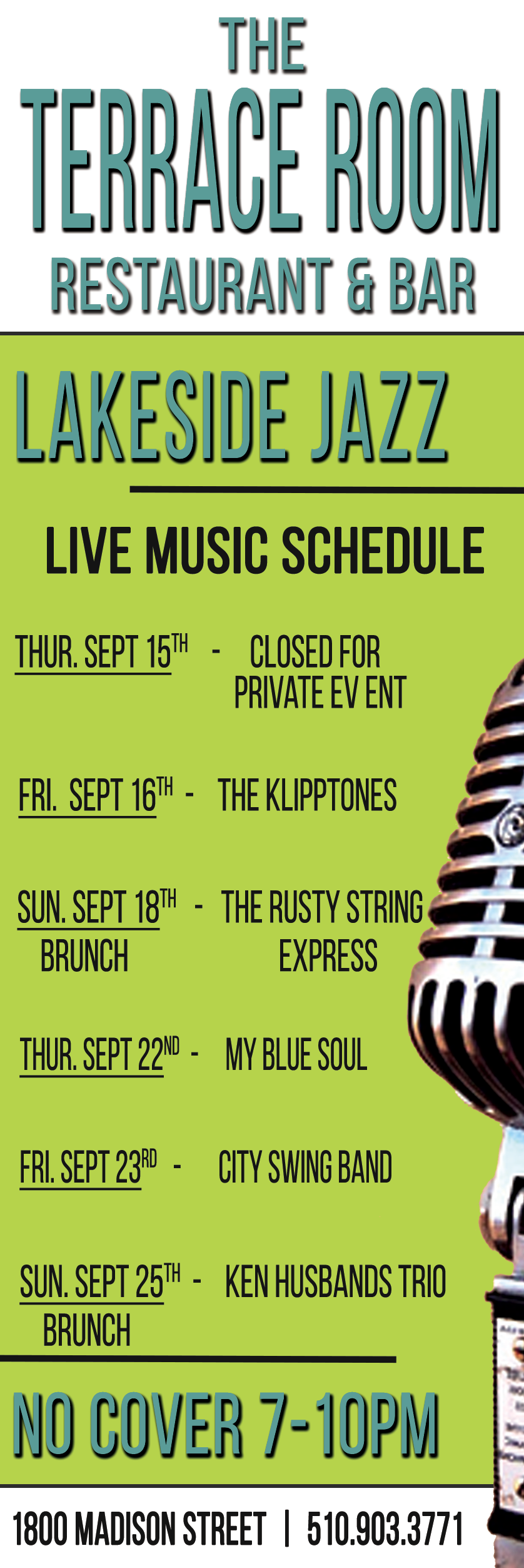 Live Music Schedule September 2016